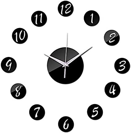 Image of JIANGQIAO Decoración de la Pared de la Sala Digital de Etiquetas Estilo Moderno Espejo de acrílico de Bricolaje Relojes de Pared Moderna de la Aguja del Reloj de Pared de Cuarzo (Color : Black)