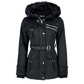 Amazon.com: Dressation Womens Faux Fur Hooded Black Winter Parka ...