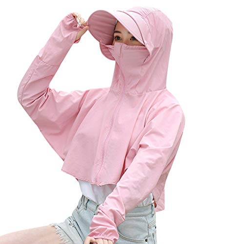 Sun Protection Top Hooded Coat, Sttech1 Women Sunscreen Short Loose Anti-UV Solid Zipper Coat Long Sleeve Causal Jackets Hat Breathable Cycling Outdoor (Pink 1)