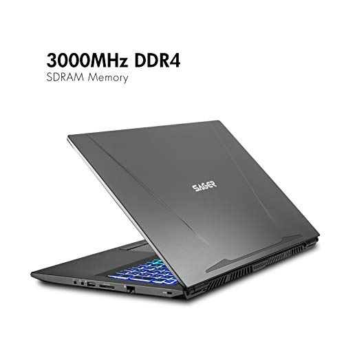 Sager NP8978 0.78 Inches Thin & Light Gaming Laptop, 17.3 Inches FHD 144Hz Thin Bezel Display, Intel Core i7-9750H, NVIDIA RTX 2080 8GB DDR6, 32GB 3000MHz RAM, 1TB NVMe SSD + 2TB SSHD, Windows 10