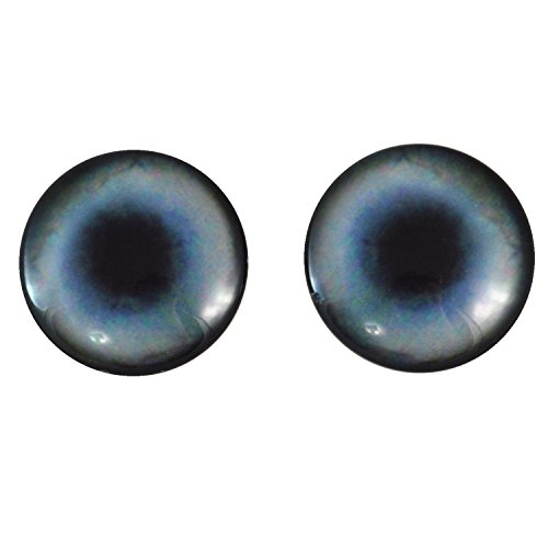 40mm Pair of Large Blue Husky Dog Glass Eyes, for Jewelry making, Arts Dolls, Sculptures, and More ()
