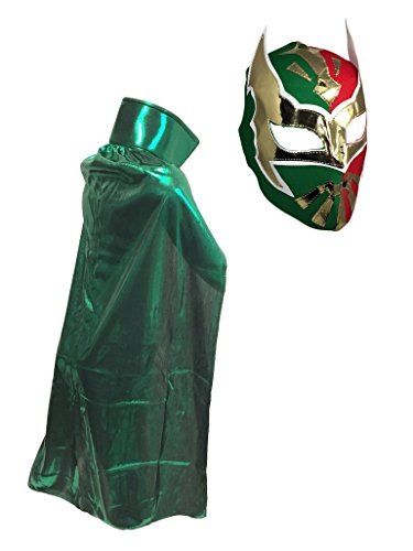 SIN CARA JR Lucha Libre Wrestling Mask & Cape Halloween Costume Set - (Quick And Inexpensive Halloween Costume Ideas)