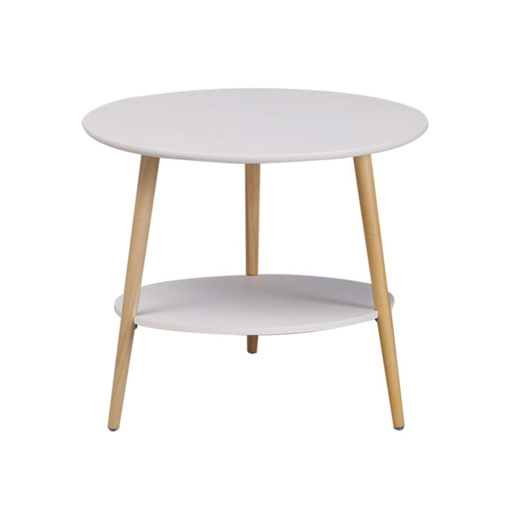 6053CM Small Round Table Solid Wood Double Layer Small Apartment Bedroom Bedside Table Sofa Small Side Table Coffee Table Leisure Reading Table Telephone Table Small Dining Table,60  53CM