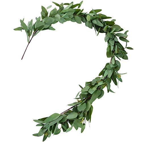 Belle Fleur Artificial Silver Dollar Seeded Eucalyptus Garland 5FT - Leaves Greenery Garland for Wedding Backdrop Centerpiece Decor ()