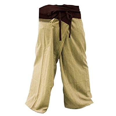 """THAICOMPLEX"" 2 TONE Thai Fisherman Pants Yoga Trousers FREE SIZE Plus Size Cotton: Clothing"