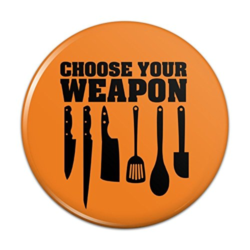 Choose Your Weapon Chef Baker Kitchen Tools Knife Spatula Pinback Button Pin Badge - 3