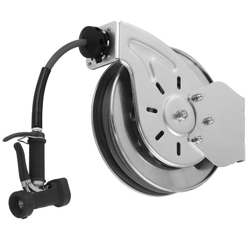 T&S Brass B-7132-05 Open Stainless Steel 3/8-Inch X 35-Feet Hose Reel with Front Trigger Water Gun