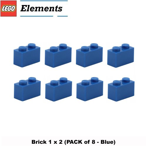 Lego Parts: Brick 1 x 2 (PACK of 8 - Blue)