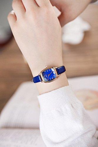 Unique Women Gift Girlfriend sen Women Girls Elegant Retro Small Student Leather Belt Watch (ke Purple Square dial (Blue)