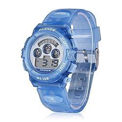 Pasnew LED Waterproof Sports Digital Watch for Children Girls Boys (Light Blue)