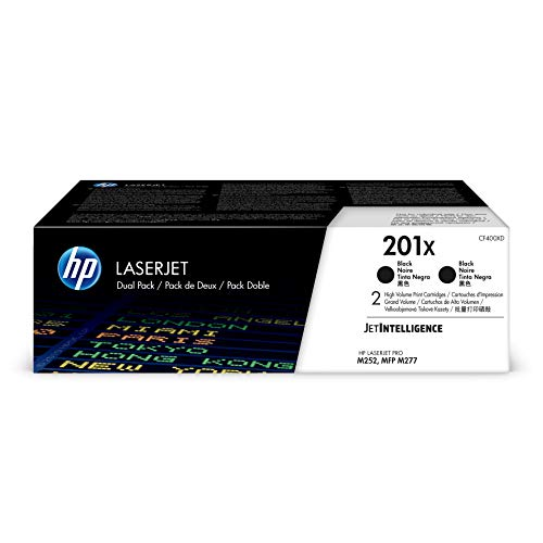 HP 201X (CF400XD) Black High Yield Toner, 2 Cartridges