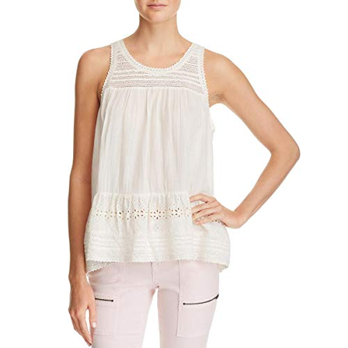 Joie Womens Crew Neck Peplum Hem Tank Top White XXS