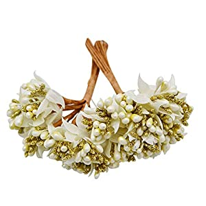 GSD2FF 12PCS/lot Mulberry Party Artificial Flower Stamen Wire stem Marriage Leaves Stamen DIY Wreath Wedding Box Decoration 63