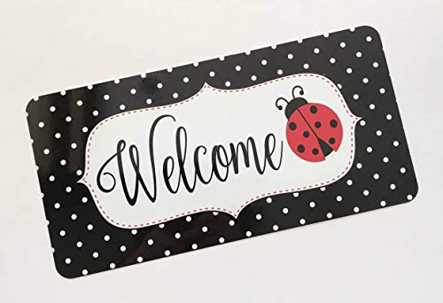 Jeartyca Ladybug Welcome Sign Spring Sign Wreath Attachment - Ladybug Welcome Sign