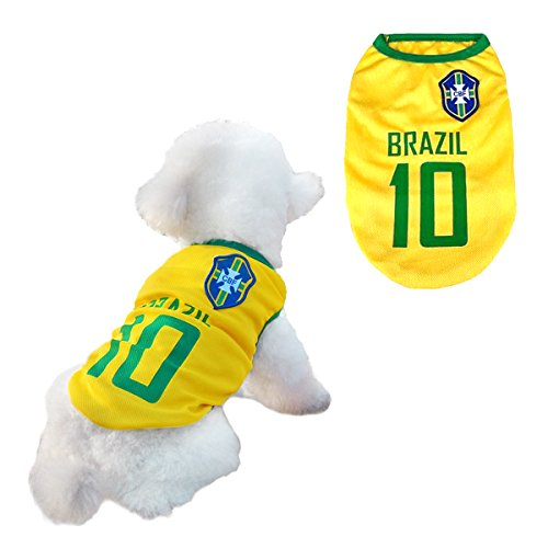 Dog Clothes Football T-shirt Dogs Costume National Soccer World Cup FIFA Jersey for Pet Brazil (Dog Pet T-shirt Fan 1)
