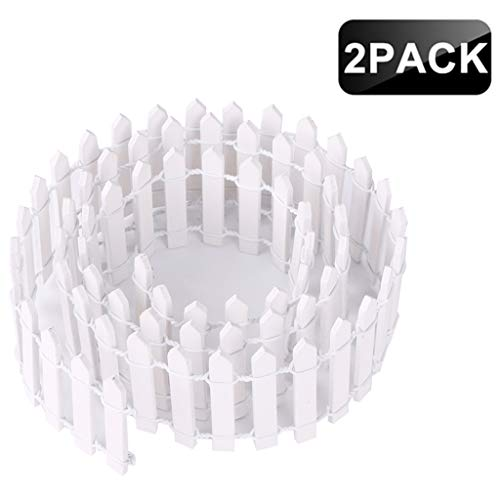House Fence Picket White - Ymeibe 35 Inch 2-Pack Miniature Picket Fence Fairy Garden Fence Wood Decorative Ornament Fence Dollhouse Plant Pot DIY Diorama Project