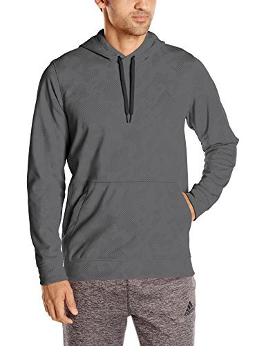 (adidas Performance Men's Team Issue Fleece Pullover Print Hoodie, X-Large, Dark Grey Heather/Black)