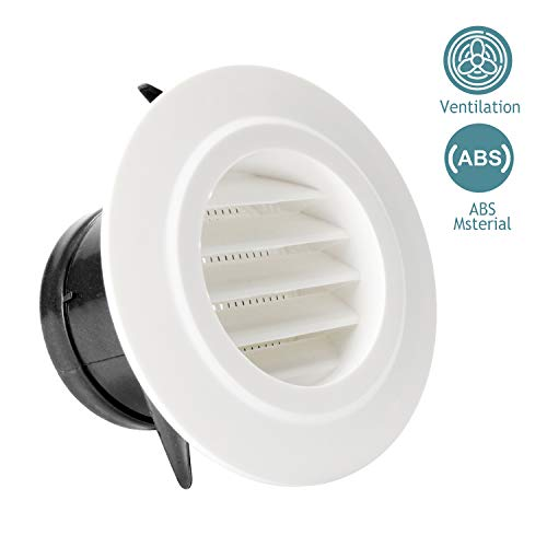 d Air Vent ABS Louver Grille Cover White Soffit Vent with Built-in Fly Screen Mesh for Bathroom Office Kitchen Ventilation ()