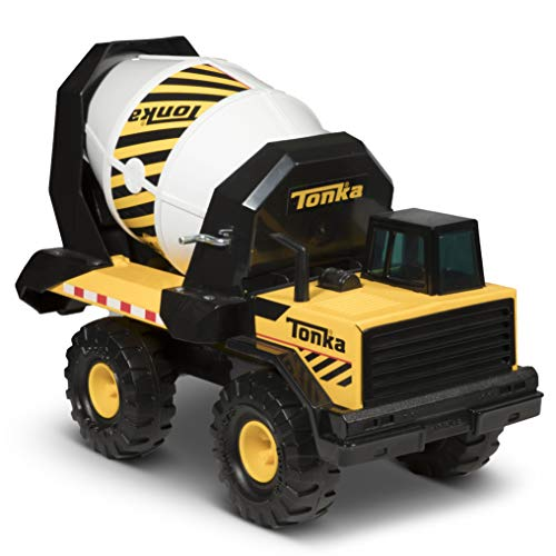 Construction Mixer Truck - Tonka Steel Cement Mixer Vehicle, Yellow, Black, White