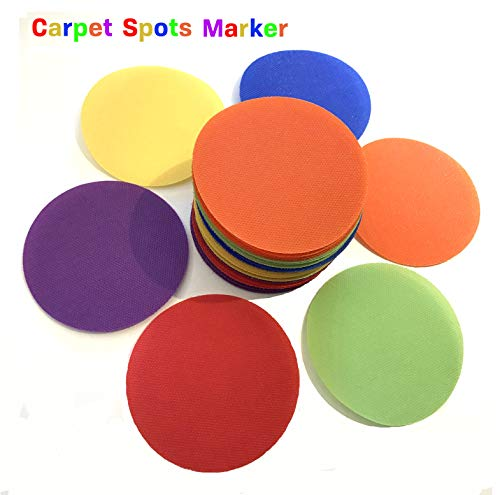 Carpet Markers for Teachers & Educators, Rainbow Sitting Circle Spot for Classroom Set of 36