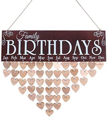 Amazon.com: WINOMO Family Birthday Board Plaque DIY Hanging Wooden