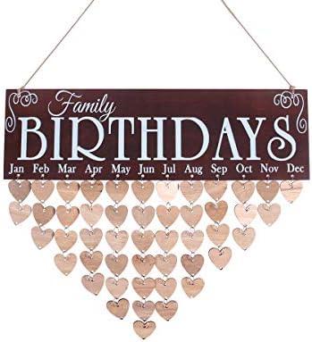 WINOMO 1pc Hanging Calendar Wooden Creative DIY Birthday Reminder for Office