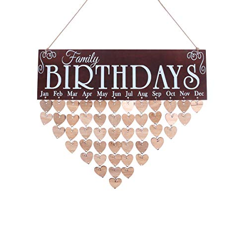 WINOMO Family Birthday Board Plaque DIY Hanging Wooden Birthday Reminder Calendar with 50pcs Wooden -