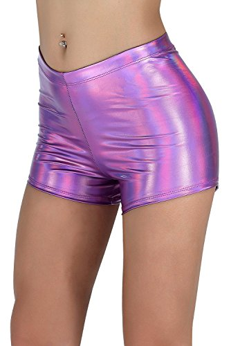 (NIliker Women Leather Metallic Shiny Short (Medium, Multicolor Purple))