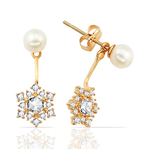 - Charming Freshwater Pearl Stud and Clustered CZ Flower Ear Jacket Earrings in 14K Yellow Gold for Women