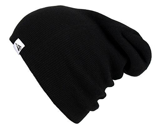Black Basic Knit Beanie - KooL Hop Kids Boys Girls Baby 100% Pure Cotton Knit Basic Long Beanie Hat Cap Black