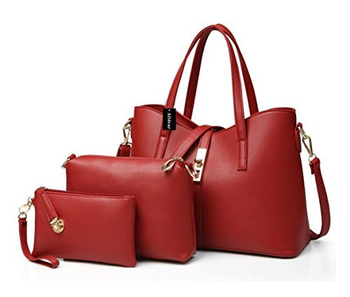 Alidear New Brand and 2018 New Women Top Handle Satchel Handbags Tote Purse Red