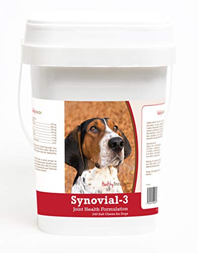 (Healthy Breeds Synovial 3 Dog Hip & Joint Support Soft Chews for Treeing Walker Coonhound - OVER 200 BREEDS - Glucosamine MSM Omega & Vitamins Supplement - Cartilage Care - 240 Ct)
