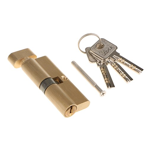 Dolity Home Security Copper Anti-theft Security Interior Door Lock Core Cylinder with 3 Keys 85mm