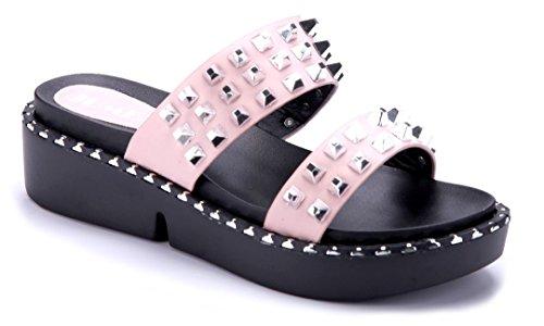 Schuhtempel24 Damen Schuhe Pantoletten Sandalen Sandaletten Schwarz Flach Nieten f2PPlMnG