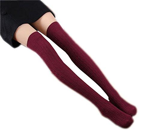 Vwhite Womens Girls Warm Long Over Knee Leg Warmer Knit Crochet Sock Leggings Wine Red -