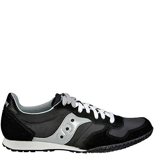 Saucony Originals Women's Bullet Classic Retro Sneaker, Black/Silver, 7 M US