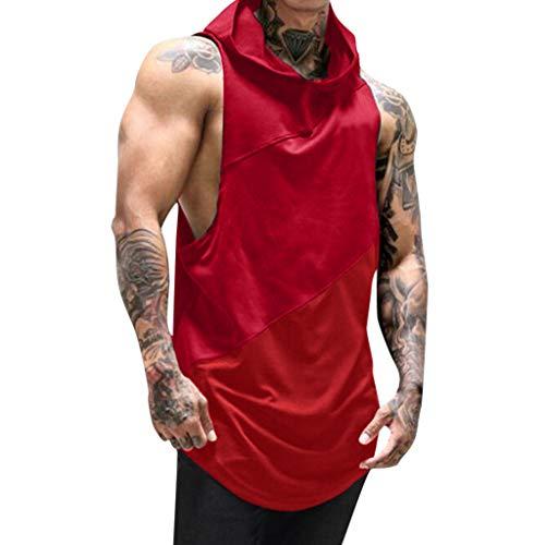 (Men's Sport Fitness Net Yarn Patchwork Mesh Hoodie Sleeveless Singlet T-Shirt Top Vest Tank Red)