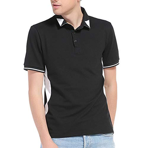 (Men Patchwork Top, Male Euro-American Style Lapel Short Sleeve T-Shirt Casual Turn-Down Collar Tops)