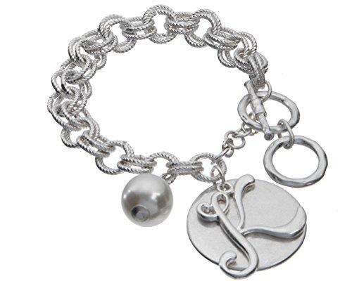 Jewelry Nexus K Monogram Silver-Tone Overlay Medallion Bracelet Imitation Pearl & Toggle Closure