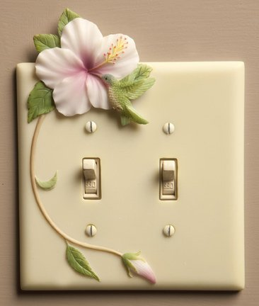Hummingbird & Hibiscus - Hand Painted Double Switchplate Cover - Double Pole Style - Ibis & Orchid Design