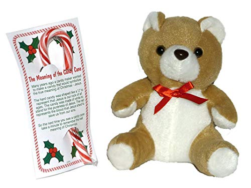 The Meaning of the Candy Cane - Bundle of Card, Candy and Stuffed Animal Teddy Bear – Tan (Cane Bears Candy)