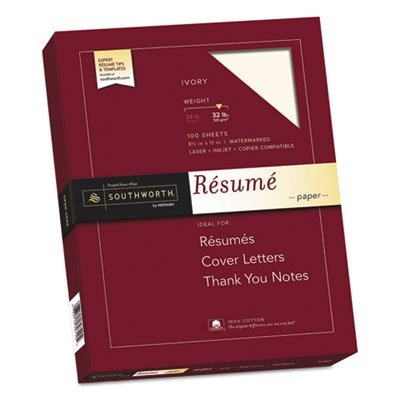 - 100% Cotton Resume Paper, 32lb, 8 1/2 x 11, Ivory, Wove, 100 Sheets