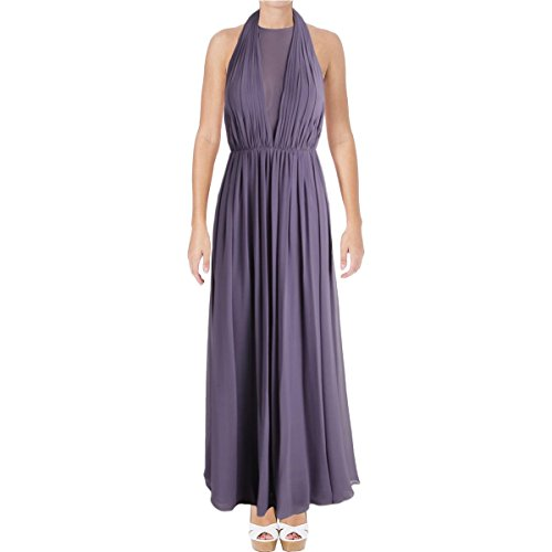 (Vera Wang Women's Sleeveless Chiffon Halter Gown with Veiled Deep V Neck, Lavender, 6)