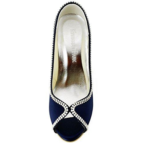 Azul Satén Vestir Zapatos De Marino Elegantpark Mujer qAXTHO