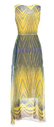 Maxi Womens Belted Cruiize Chiffon Print Sleeveless Dress Yellow1 High Waist ROn0CqxB