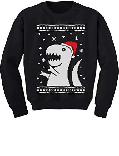Park Kids Sweatshirt - Big Trex Santa Ugly Christmas Sweater Style - Children Funny Kids Sweatshirt Large Black