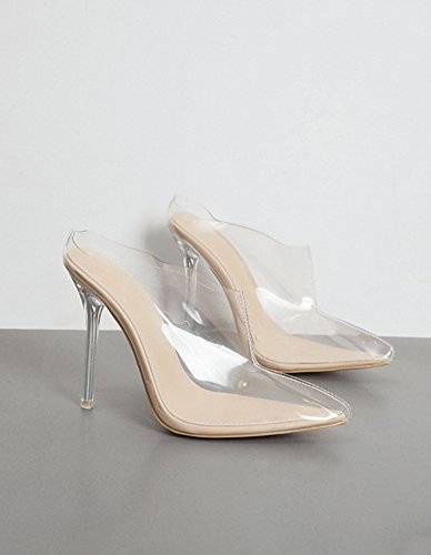 Aisun Damen Transparent Kunststoff Spitze Zehen Stiletto Kristallschuhe Pantolette Aprikosenfarben