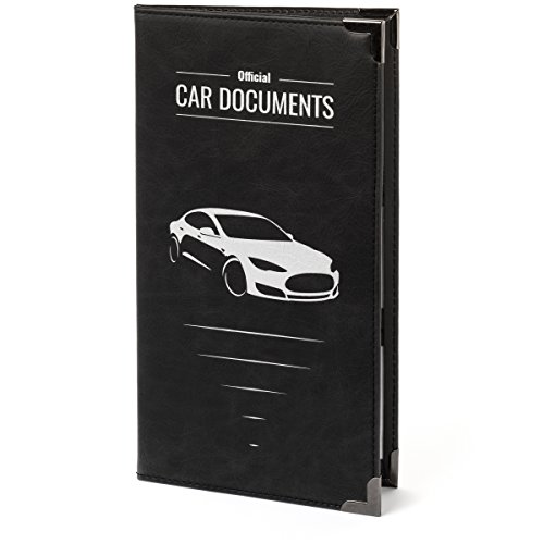 OFFICIAL CAR DOCUMENTS CASE 9.25 X 5 large size for Insurance, DMV, Registration, AAA, Auto Club, for Car Truck SUV, Motorcycle, touch fastener closure, safely store important documents, gift box