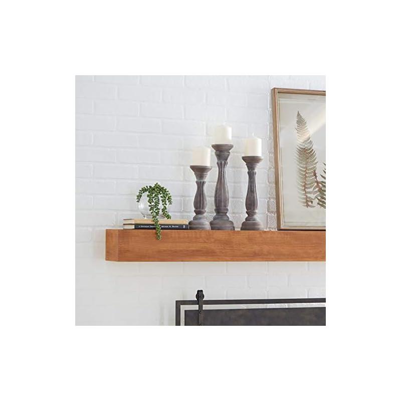 """Turned Column Whitewashed Wood Candlesticks, Set of 3: 15"""", 13"""", 11"""""""