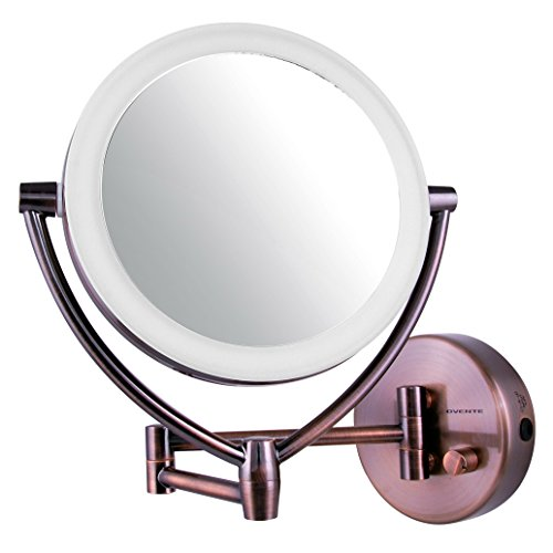 Ovente LED Lighted Wall Mount Makeup Mirror, 7.5 Inch, Batte